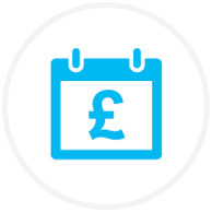 Blue money calendar icon