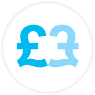 Blue pound signs icon
